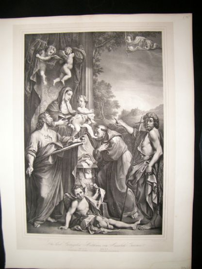 After Annibale Carracci C1840 LG Folio. Madonna enthroned with St. Matthew | Albion Prints